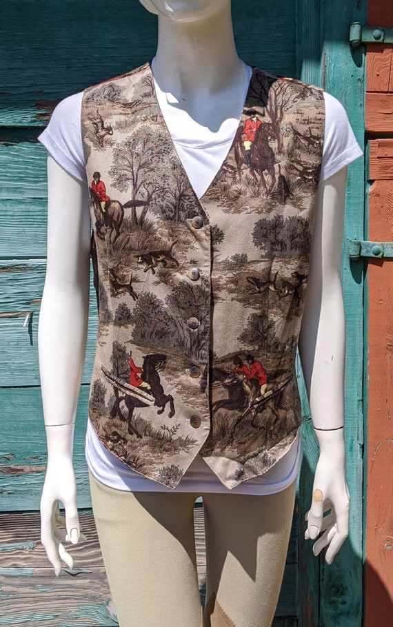 Vintage Twill Vest Fall Hunters and Hounds – 1980s