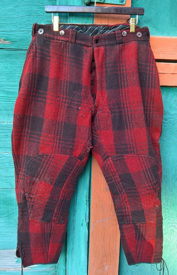 Vintage Breeches Mens FieldMaster Wool Buffalo Pla