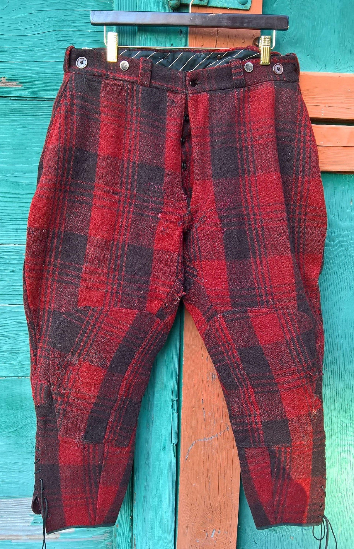 New 1930s Mens Fashion Ties Vintage Breeches Mens Fieldmaster Wool Buffalo Plaid 1930S $85.00 AT vintagedancer.com