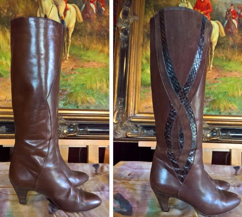 Vintage Kid-Suede Baubled Tall Boots Italy