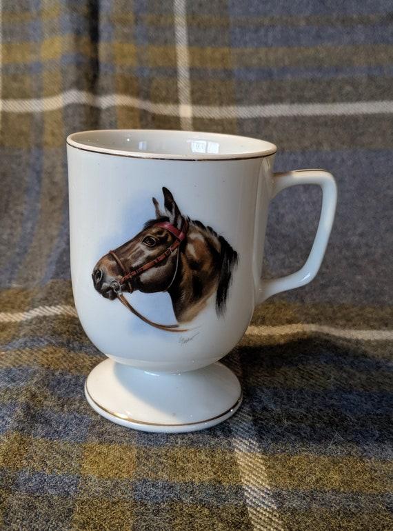 Vintage Cup Porcelain Brown Bridled Horse Victorian