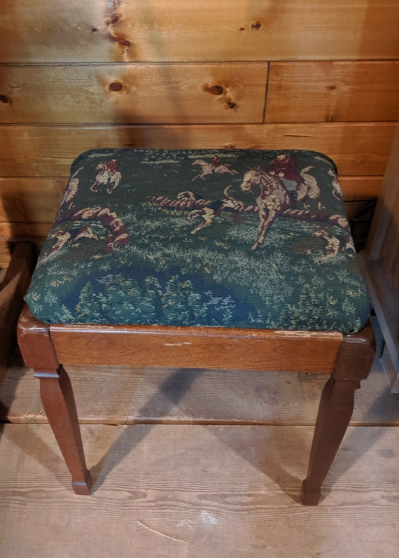 Vintage Square Stool with removable Hunt Tapestry Seat