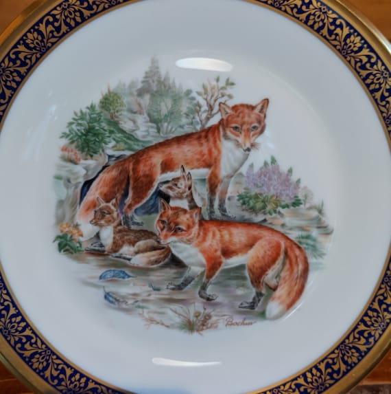 Vintage Lenox Red Foxes Plate Boehm 1974