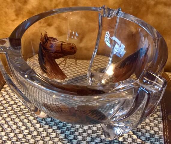Vintage Ashtray Horses Transferware Heavy Glass