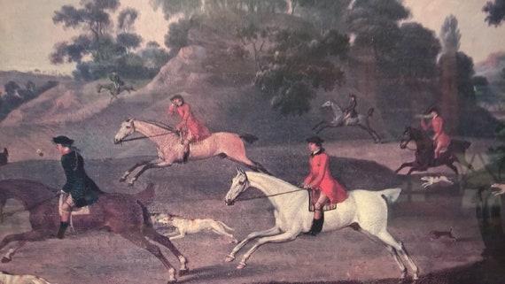 Vintage Print Equestrian Hunt Scene Framed Gallery