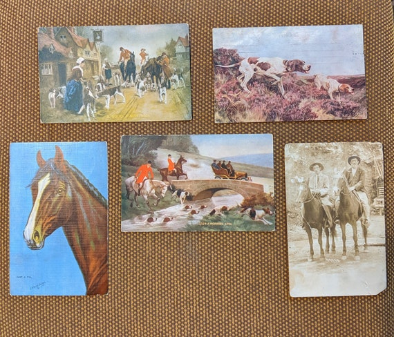 Vintage Post Cards –Hunters, Hombre's, Hounds and Horses