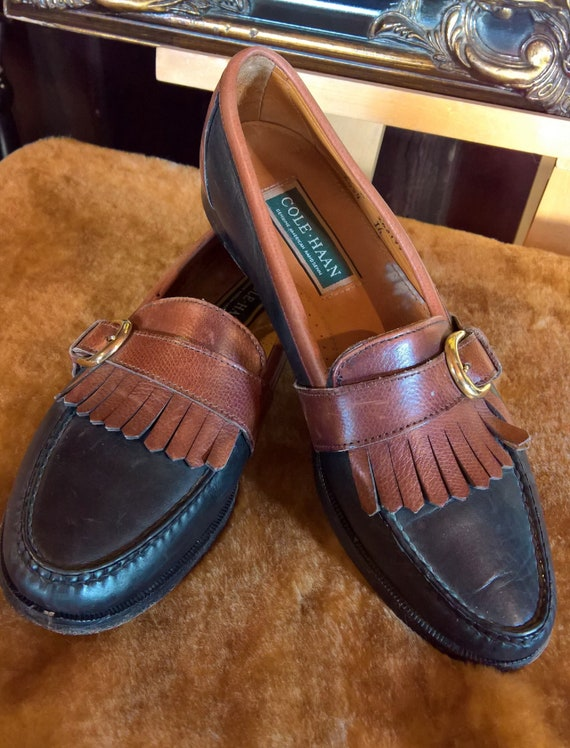 Vintage Shoes Loafers Cole Haan Buckled Saddle-Style Two Tone