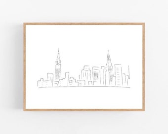 New York Drawing Etsy