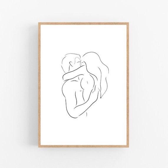 Embrace Line Art Couple Print Abstract Relationship Wall Decor Minimalist Art Modern Room Decor Lovers Printable Wall Art Love Drawing