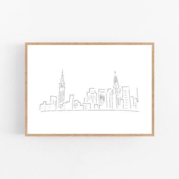 New York line art, NYC print, Abstract skyline wall decor, Minimalist art,  Modern room decor, City printable wall art, Drawing, Cityscape