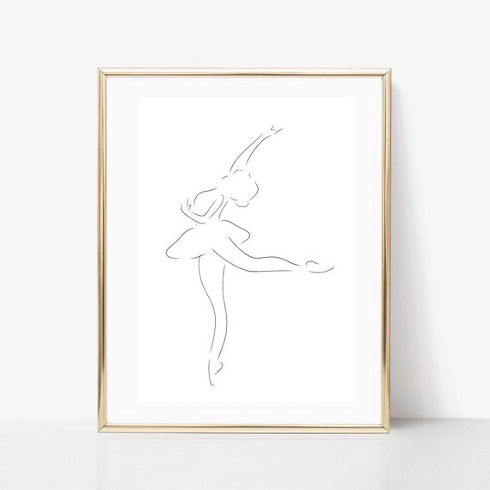 ballerina line art, dancer print, abstract ballet wall decor, minimalist art, modern room decor, dance printable wall art, point