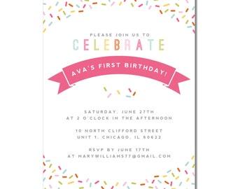 Kid's Sprinkle Birthday Invitation | Digital or Printed Birthday Invitation | Celebrate with Sprinkles | Multicolor Sprinkle Birthday Invite