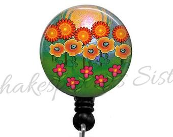 Red Poppy Flower Badge Reel Retractable Id Badge Umbrella Etsy