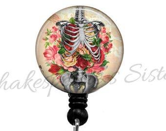 Human Anatomy Badge Reel - Retractable Badge Holder - Skeleton and Flowers - Nurse Badge Reel - Medical ID Holder