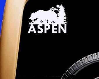 Aspen Colorado Bear Decal Mountains & Trees  Cooler Car Vinyl Sticker
