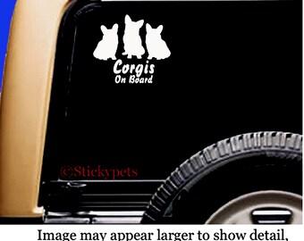 Pembroke Welsh Corgi Trio on Board Decal Sticker Original Design RV Truck Vinyl