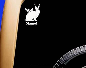 Memorial Rabbit Bunny Angel Halo Vinyl Car Window Pet Vinyl Decal Sticker Original Design ADD NAME?