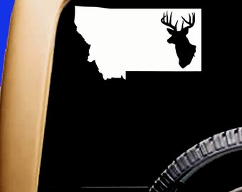 Montana Map USA Hunt Hunting Deer Buck Decal Mountains Cooler Car Vinyl Sticker Original Design