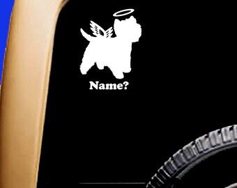 Dog Memorial Westie West Highland Terrier Angel Halo Decal Sticker Original Design