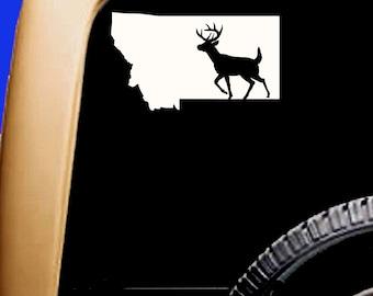 Montana USA Hunt Hunting White-tailed Deer Buck Decal Mountains Cooler Car Vinyl Sticker Original Design