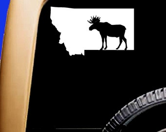 Montana Map USA Hunt Hunting Bull Moose Decal Mountains Cooler Car Vinyl Sticker Original Design
