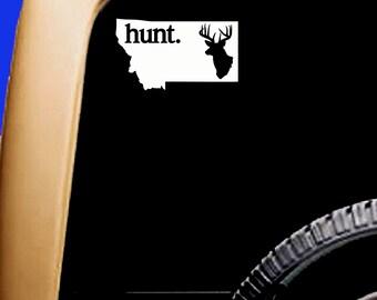 Montana USA Hunt Hunting Deer Buck Decal Mountains Cooler Car Vinyl Sticker Original Design