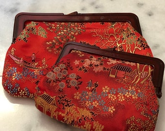 """4da372f3f64c Awesome Asian motif cosmetic pouch clutch Got it at The Plastic Flamingo  super handy and cute too! Fun for all the girls """"kiss and makeup"""""""