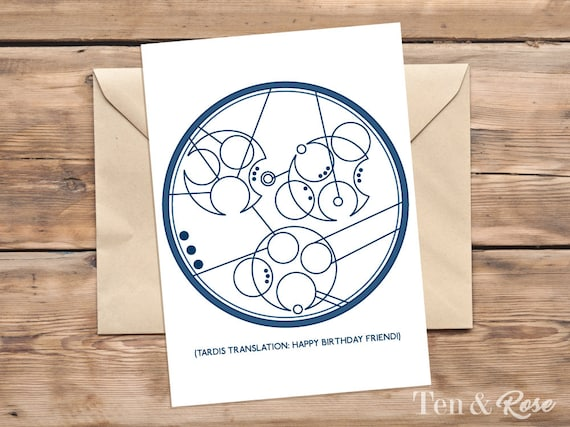 Doctor Who Birthday Card Gallifreyan Time Lord Card Etsy