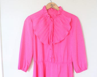 vintage hot pink and white striped ruffle secretary dress *