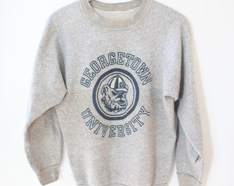 vintage georgetown University athletics oversized  heathered gray sweatshirt