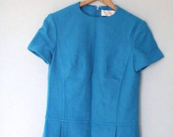 vintage pendelton 1960s turquoise shift dress with pockets