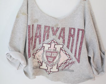 vintage HARVARD distressed heathered gray cropped sweatshirt t shirt