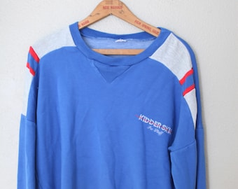 vintage blue red & heathered gray kidder skis pro staff sweatshirt