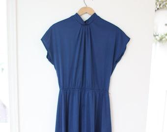vintage navy blue & gold polka dot capped sleeve dress