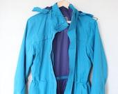 vintage REi oversized turquoise navy blue drawstring anorak shell jacket 540