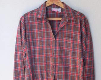 vintage red brown plaid button up shirt