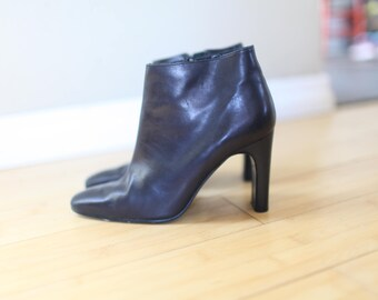e286c9f2407 vintage calvin klein black leather oxford ankle boots womens 6 1 2