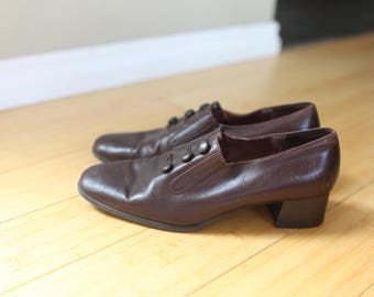 ca5bf10d9a47 vintage sudini brown leather slip on oxford ankle boots womens 11