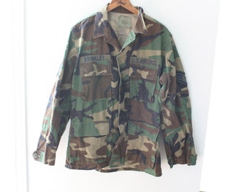 vintage distressed military fatigues camouflage camo green jacket #0196