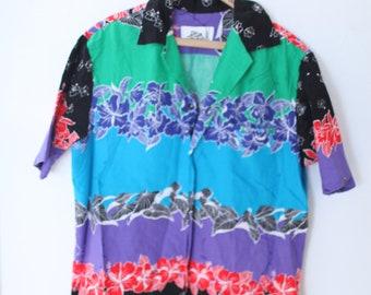 63b1fd2ceda vintage hilo hatties black   turquoise blue hawaiian button up torist shirt   a093
