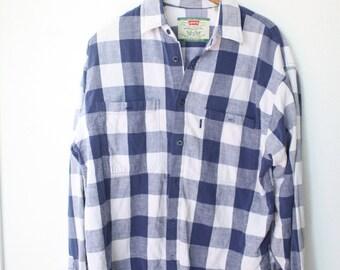 c4c4756f vintage levis blue & white buffalo check plaid button up shirt #a0292