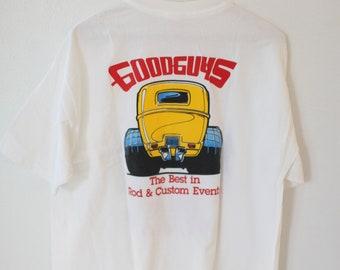 bc38be722 vintage good guys hot rod car show white t shirt *040