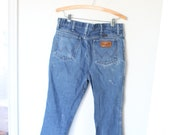 vintage wrangler 1980 39 s distressed blue jeans denim 34 0534