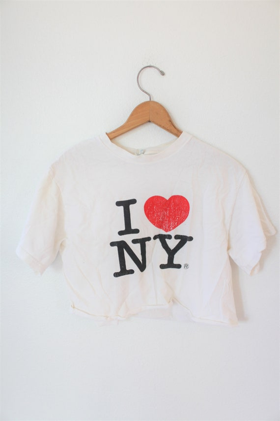 vintage I heart NY new york love cropped slouch to