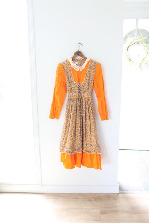 vintage orange floral white lace  corset  dress #0
