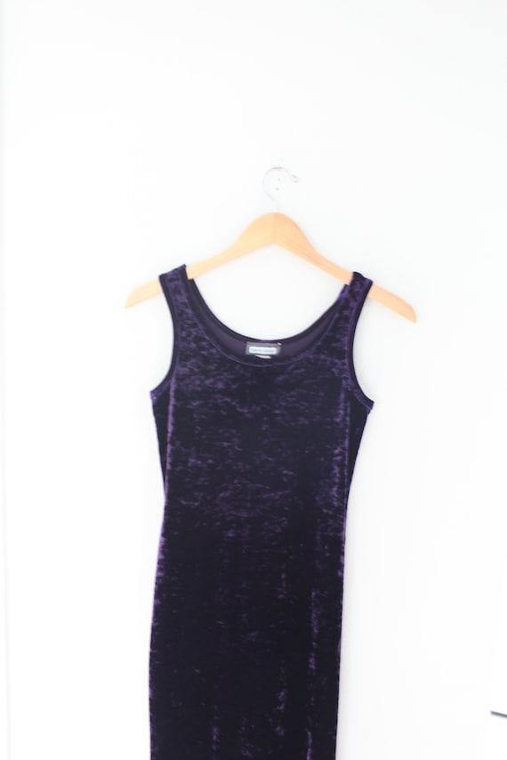 vintage 90s purple velvet maxi gown dress #0356 - image 2