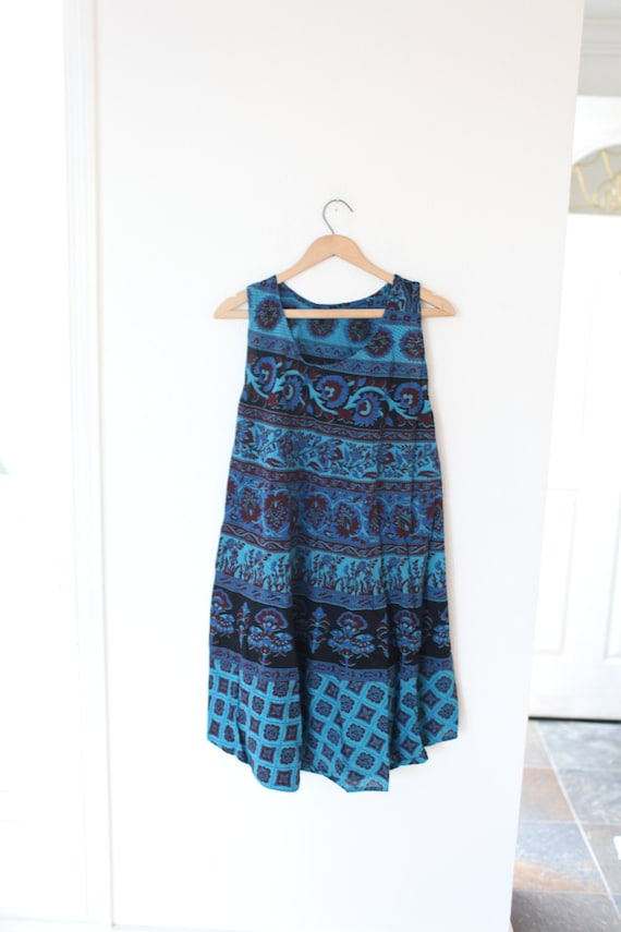 vintage purple & blue  bohemian sleeveless tunic m