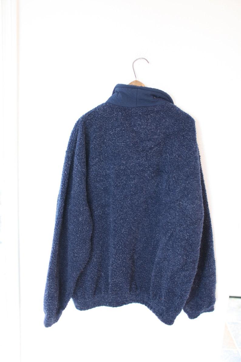 vintage navy blue puffy sherpa like fleece jacket coat LONDON england