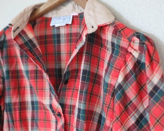 vintage red plaid check button up shirt womens *