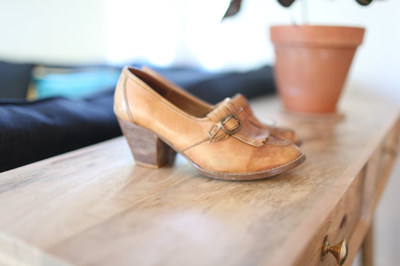 vintage woven tan leather fringe wood wedge oxfords womens  7 12